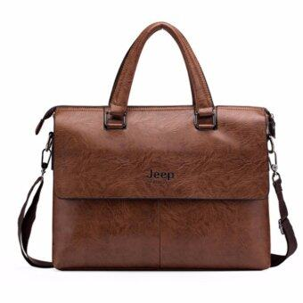 Harga Men or Women Jeep Buluo Bag Men Business Briefcase Leather Shoulder Bags For 14 inch Laptop Bag Travel Handbags (Brown)
