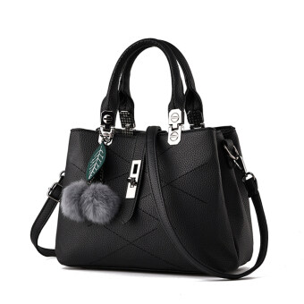 Harga Realer 2016 New Fashion Women PU Leather Tote Bag With Fur Ball (Black)