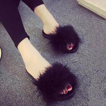 Harga Women's Fur Fluffy Slippers Slides Mules Sandals Feather Home Open Toe Shoes black