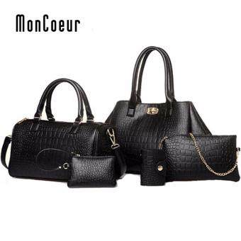 Harga MonCoeur A06 Elegant Faux Crocodile Leather Handbags Set of 5 (Classic Black)