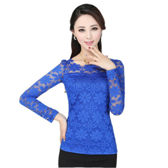 Harga New Women Fashion Lace Crochet Blouse Long-sleeved Lace Tops Plus Size M-5XL Blue