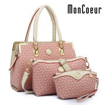 Harga MonCoeur B05 Set of 3 Latest Fashion PU Leather Handbag Pouch Cross Body Bag (Pink)