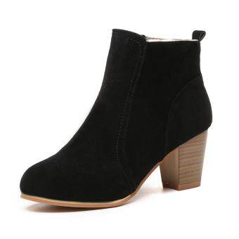 Harga Fashion Ladies Women Girl Winter Nubuck Martin Short Boots Casual Middle heel Shoes Black