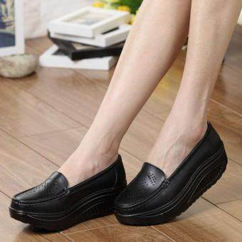 Harga Women Breathable Casual Cut-outs Wedges Sneaker Women Breathable Mary Jane Shoes Woman Light Walking Footwear Flat Mules (Color:Black)