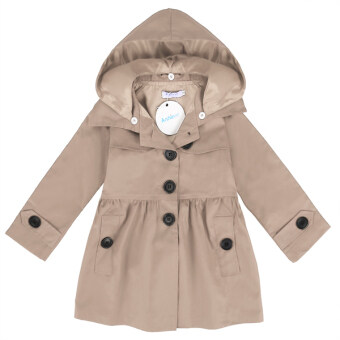 Harga Cyber Arshiner Kids Girl Turn Down Neck Detachable Hat Single Button Pure Color Slim Cotton Trench Wind Coat Outwear(Khaki)