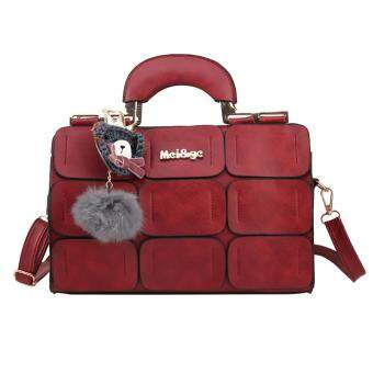 Harga New Spring Women PU Leather Suture Boston Bag Lady Shoulder Bag Handbag Tot