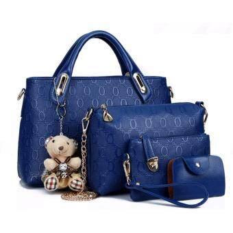 Harga Women Handbag Sweety Girl Korean Leather 4 in 1 Bags Women Fashion Leather 4 in 1 Bag Luxury Faux Crocodile Leather HandBag High Quality (Blue)