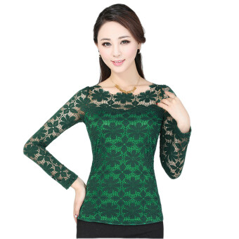 Harga New Women Fashion Lace Crochet Blouse Long-sleeved Lace Tops Plus Size M-5XL Green