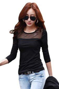 Harga Moonar Lace Mesh Long Sleeve T-shirts Black