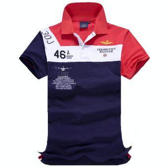 Harga 2017 Fashion Mens Polo Shirt Summer Breathable Tops Men Polo Air force Fitness Male Tee Brand Clothing Casual Cotton (Red)