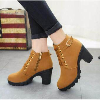 Harga Hanyu Spring Autumn Winter Women Lady PU Leather High Heel Martin Ankle Zipper Boots Shoes