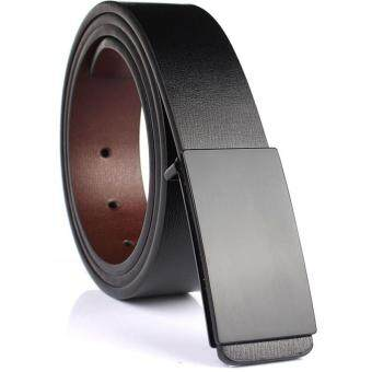Harga Belt 2017 New Automatic Buckle Cowhide Leather Belt Men 100-135CM Belts for Men Ceinture Hombre(Black-1)