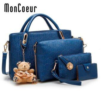 Harga MonCoeur B04 Set of 5 in 1 Luxury Faux Crocodile Leather HandBags (Blue)