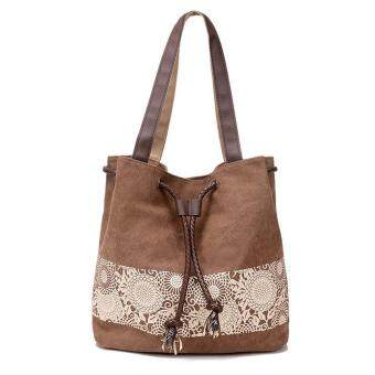 Harga Amart Women Canvas Shoulder Bag Flower Bags Big Capacity Drawstring Tote Casual Shopping Handbag (Coffee)