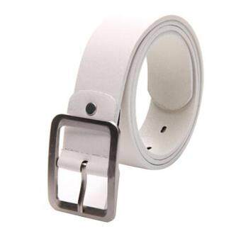 Harga Men's Casual Faux Leather Belt Buckle Waist Strap Belts White