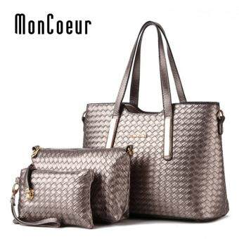 Harga MonCoeur 1001 Set of 3 in 1 Woman Premium PU leather Handbag (Bronze)