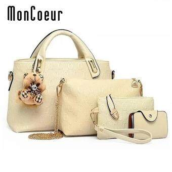 Harga MonCoeur B04 Set of 5 in 1 Luxury Faux Crocodile Leather HandBags (White)