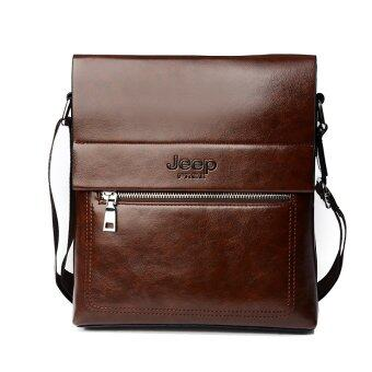 Harga New 2016 JEEP Handbag Men Leather Single Shoulder Bag Business Vertical Leisure Briefcase (Dark Brown)
