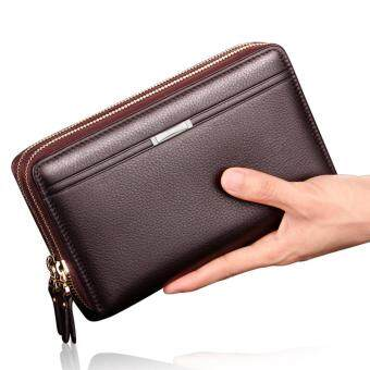 Harga Ajusen New Men PU Leather Wallets Large Capacity Clutch Gift for Male Business Double Zipper Long Multifunction Wallet Hand bags Purse