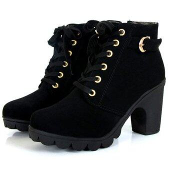 Harga Women Chunky Block High Heel Ankle Boots Winter Nubuck Buckle Martin Boot Shoes Black