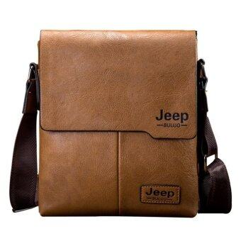 Harga Jeep Buluo Messenger Bag Jeep Leather Briefcase Shoulder Bag Unisex Working Briefcase Leather Sling Bag Daypack (Khaki)