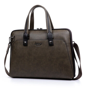 Harga Jeep Men 's Business Briefcase Portable Handbag Aslant Tote (Horizontal Coffee)