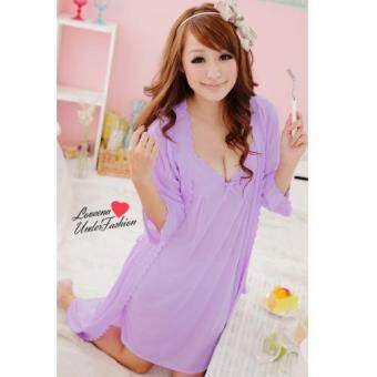 Harga Loveena Ice Silk Robe Pyjamas Plus Size Lingerie P0309 (Purple)