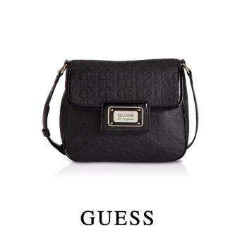 Harga AUTHENTIC GUESS EMBOSSED LOGO FLAP CROSSBODY (BLACK)