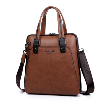 Harga Jeep Men 's Business Briefcase Portable Handbag Aslant Tote (Vertical Camel)