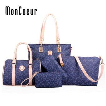 Harga MonCoeur D003 Set of 5 in 1 Woman Premium PU leather Handbag (Blue)