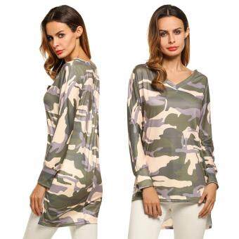 Harga Jo.In New Fashion Women Casual Camouflage Hip Length Long Sleeve V-Neck T-Shirt