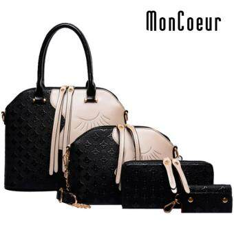 Harga MonCoeur D002 4 in 1 European Designer Leather Handbags 4 piece Set (Black)