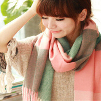 Harga Autumn Winter Spring Fashion Style Cotton Scarf/scarves/cappa/tippet/shawl for women/ladies/girls Pink and green grid 200CM
