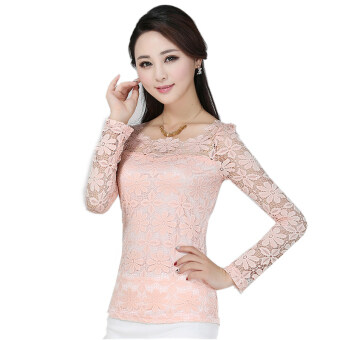Harga New Women Fashion Lace Crochet Blouse Long-sleeved Lace Tops Plus Size M-5XL Pink