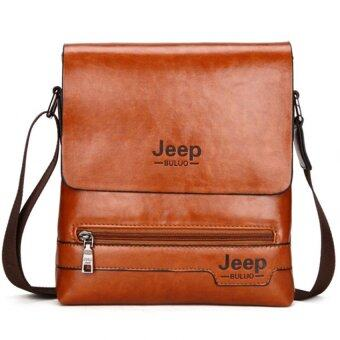 Harga Jeep Cowhide Leather Crossbody Bag Shoulder Bag Men Tote Bag Business Casual Messenger Bag (Small Size / Brown)