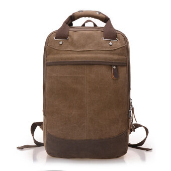 Harga 360DSC Three-layer Canvas Backpack Rucksack Handbag Travel Outdoor Bag Schoolbag Mens Bag (Coffee)