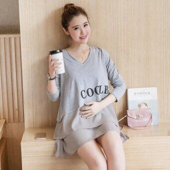 Harga 6163# Fashion Nursing Shirts For Maternity Mother 2016 Autumn Long Sleeve Loose Breastfeeding Tops Clothes Breast Feeding Wear(Grey)