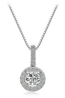 Harga Vivere Rosse Sparkling Solitaire Necklace (Silver)