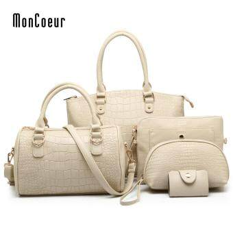Harga MonCoeur C01 Set of 5 in 1 Luxury Faux Crocodile Leather HandBags (Ivory White)