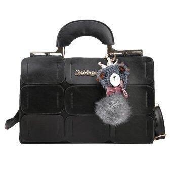 Harga New Women PU Leather Suture Boston Shoulder Bag (Black)