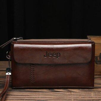 Harga Men Handbags First Layer of Cowhide Leather Clutch Business Casual Wallet Large Capacity Metrosexual Purse (Dark Brown)