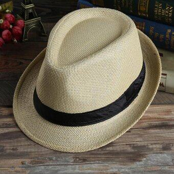 Harga Unisex Summer Beach Jazz Hat Wide Brim Beach Cap Sun Trilby Fedora Straw Hat-Deep Beige