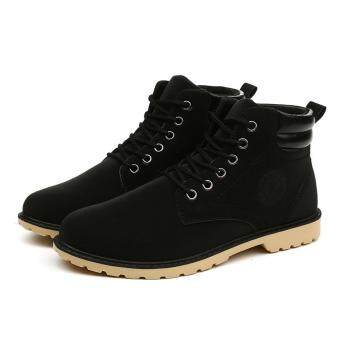 Harga Men Ankle Boots Fur Lined Winter Autumn Warm Shoelace Martin Boots Shoes