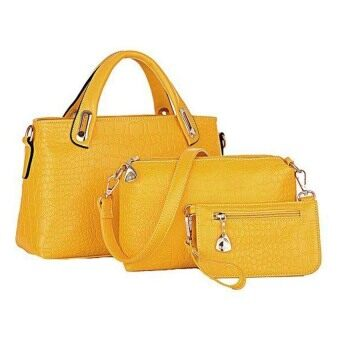 Harga SAGE Faux Crocodile Leather Bags Set of 3 (Yellow)
