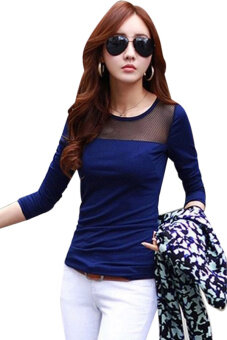 Harga Moonar Lace Mesh Long Sleeve T-shirts Blue