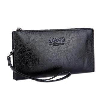 Harga Jeep Men Handbags First Layer of Cowhide Leather Clutch Business Casual Wallet Large Capacity Purse Card Holders (Black)