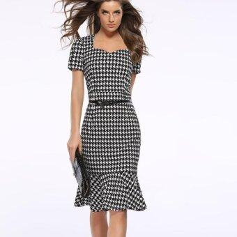 Harga new Slim houndstooth pencil dress package hip fishtail dress send belt plus size - Intl