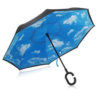 Harga Inverted Inside-Out Umbrella With C-Hook Handle - Skyblue