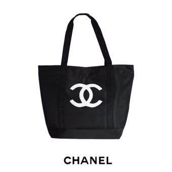 Harga AUTHENTIC CHANEL BEAUTY SEQUIN LOGO TOTE (BLACK)