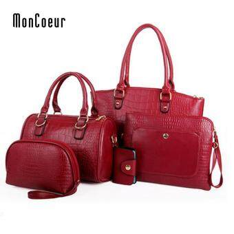 Harga MonCoeur C01 Set of 5 in 1 Luxury Faux Crocodile Leather HandBags (Wine Red)